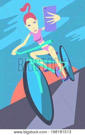 Taking Photo on Smart Phone. Vector Illustration. Selfie photos for social networks media. Concept modern life with selfie photo camera. photo on the walk on the bike