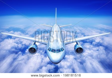 airplane in the clouds of a blue sky