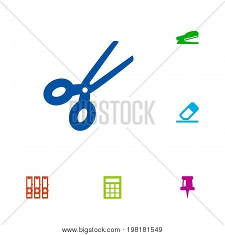 Collection Of Calculate, Puncher, Pushpin And Other Elements.  Set Of 6 Instruments Icons Set.