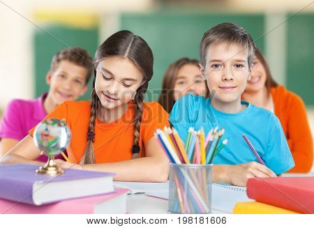 Kids school test writing group beautiful happy