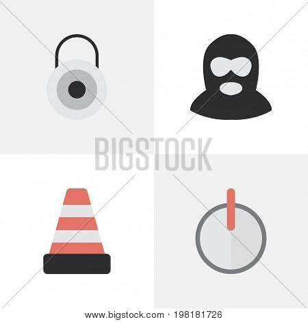 Elements Safe, Lock, Criminal And Other Synonyms Criminal, Burglar And Lock.  Vector Illustration Set Of Simple Crime Icons.