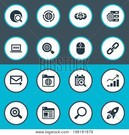 Elements Mouse, Gear, Protected Folder And Other Synonyms Internet, Optimization And Loupe.  Vector Illustration Set Of Simple Search Icons.