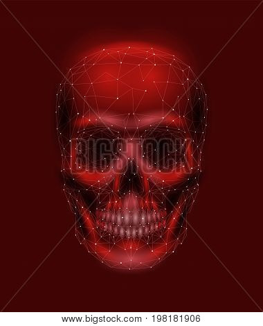 Scary human skull bone. Man head jaw eyes nose tooth. Low poly geometric connected dots triangle future technology design background red vector medicine illustration art