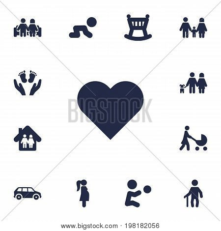 Collection Of Perambulator, Creep Baby, Expectant Mother And Other Elements.  Set Of 13 People Icons Set.