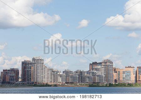 Kazan city and kazanka river in sunny day kazan russia