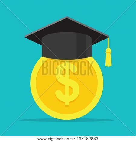 Conception of education fee. investment in education. Graduation cap and gold coin. Vector illustration.