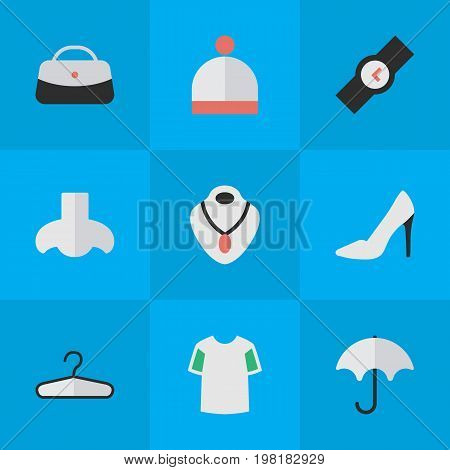 Elements Wristwatch, Jersey, Heel And Other Synonyms Parasol, Nose And Wristwatch.  Vector Illustration Set Of Simple Equipment Icons.
