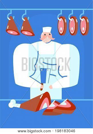 butcher shop. butcher cut up the pork leg jamon