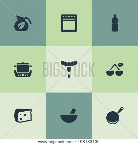 Elements Cheddar Slice, Hot Dog, Delicious Fruits And Other Synonyms Drink, Pot And Sausage.  Vector Illustration Set Of Simple Gastronomy Icons.