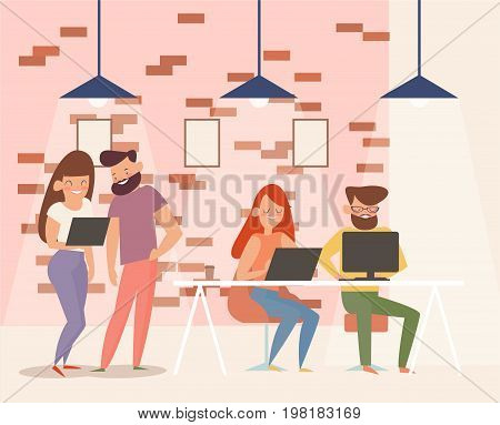 coworking center. team work on the project. Modern office interior. creative Studio design and application development