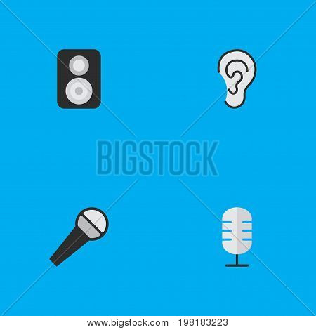 Elements Speaker, Mike, Listen And Other Synonyms Make, Mike And Mic.  Vector Illustration Set Of Simple Sound Icons.