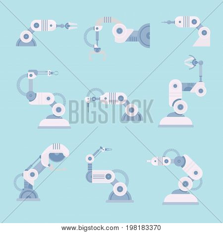 set arm robots in flat style. Robot industry technology and machine hand robot for manufacture vector illustration
