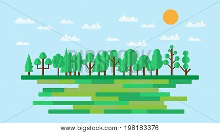 Forest in flat style. Summer. Spring forest. Wildlife. Eco lifestyle. Forest view. Vector illustration