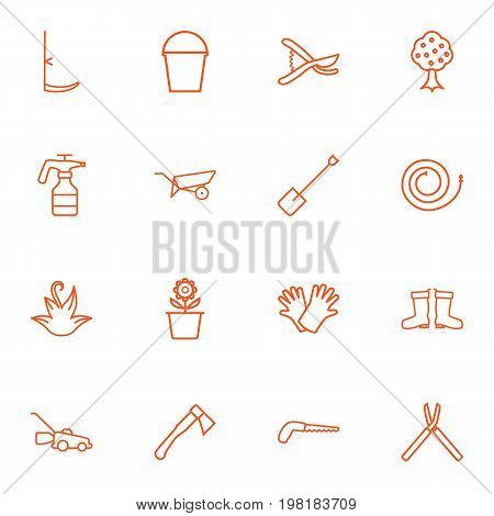 Collection Of Scythe, Waterproof Shoes, Safer Of Hand Elements.  Set Of 16 Household Outline Icons Set.