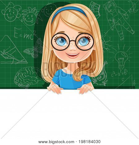 Cute Blond Girl In Glasses Holds A Large White Horizontal Banner On A Green Background