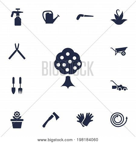 Collection Of Lawn Mower, Spray Bootle, Scissors And Other Elements.  Set Of 13 Farm Icons Set.