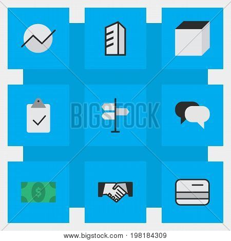 Elements Agreement, Diagram, Greenback And Other Synonyms Mark, Direction And Growing.  Vector Illustration Set Of Simple Trade Icons.