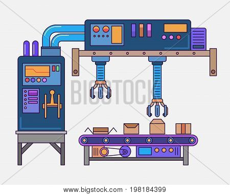 automated assembly line. Conveyor system in flat design. Mass production concept. Semi-transparent yellow boxes on a assembly line. Vector illustration