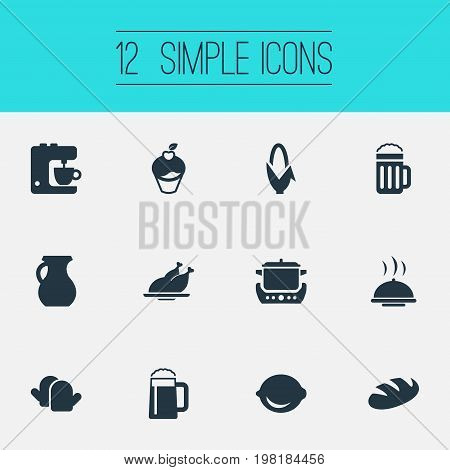 Elements Beer, Lime, Wheat And Other Synonyms Beer, Maize And Stew-Pot.  Vector Illustration Set Of Simple Gastronomy Icons.