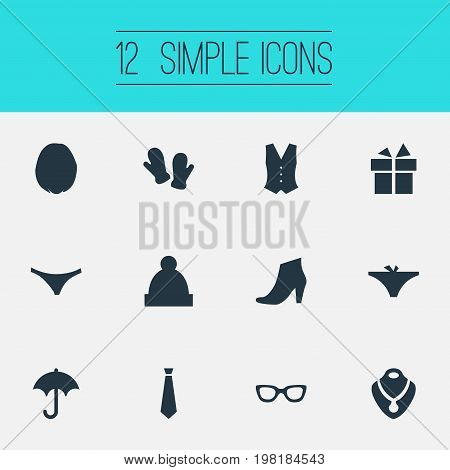 Elements Ski Hat, Gloves, Glasses And Other Synonyms Suit, Winter And Parasol.  Vector Illustration Set Of Simple Dress Icons.