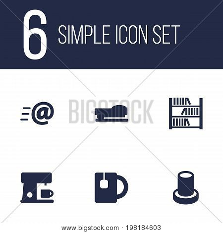 Collection Of Sew, Book, Cup And Other Elements.  Set Of 6 Office Icons Set.