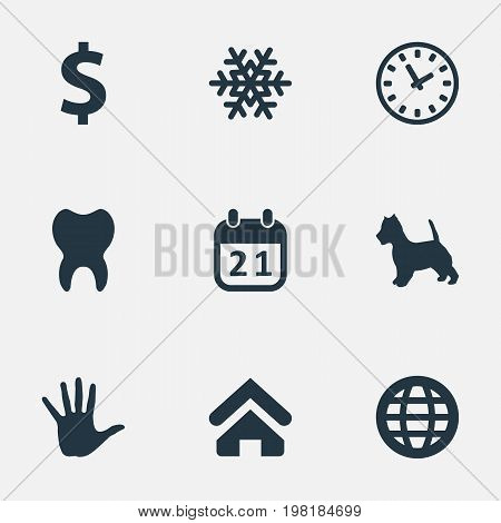 Elements Winter, Time, Hand Synonyms Dental, Calendar And House.  Vector Illustration Set Of Simple Colony Icons.