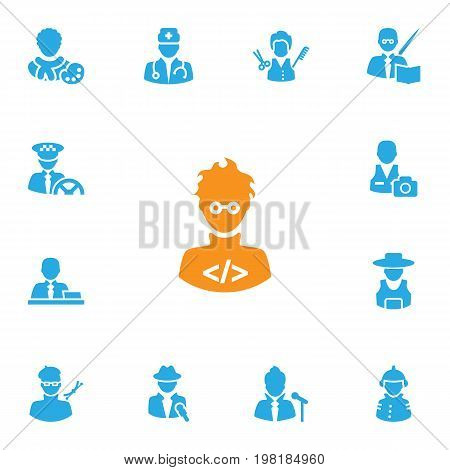 Collection Of Manager, Rancher, Leaner And Other Elements.  Set Of 13 Professions Icons Set.