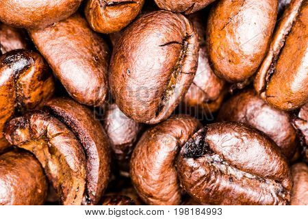 Macro photography of several roasted coffee beans. Dark brown arabic coffe beans in natural vibrant color.