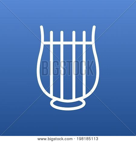 Vector Stringed Element In Trendy Style.  Isolated Harp Outline Symbol On Clean Background.