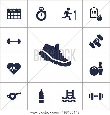 Collection Of Date, Dumbbell, Barbell And Other Elements.  Set Of 13 Training Icons Set.
