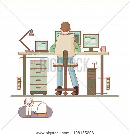 Creative work concept vector background with young adult man working on idea behind his desk. Designer at work illustration
