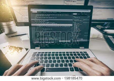 Developing programming and coding technologies. Website design. Cyber space concept.