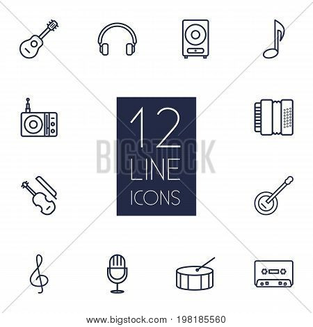 Collection Of Musical Sign, Note, Acoustic And Other Elements.  Set Of 12 Melody Outline Icons Set.