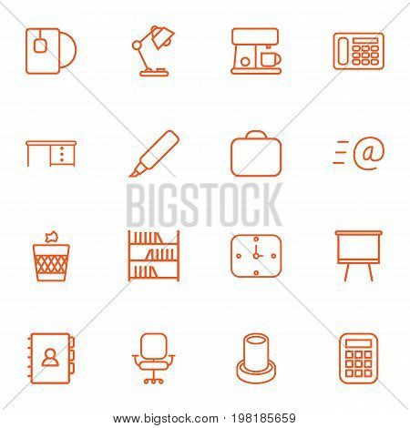 Collection Of Calculator, Wall Clock, Email And Other Elements.  Set Of 16 Bureau Outline Icons Set.