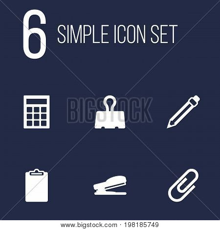Collection Of Calculate, Paper  Clamp, Clip And Other Elements.  Set Of 6 Instruments Icons Set.