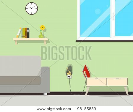 Because of the high voltage on the network, the wiring in the house caught fire. Vector illustration