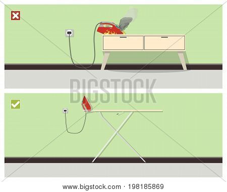 Due to negligent attitude to safety rules, a fire may occur. Vector illustration