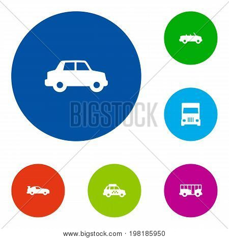 Collection Of Side View, Taxicab, Cabriolet And Other Elements.  Set Of 6 Traffic Icons Set.