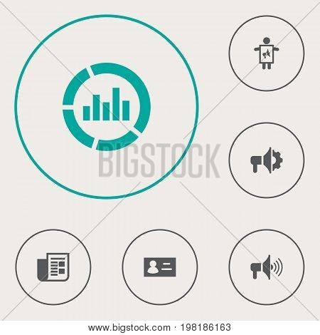 Collection Of Id, Journal, Man With Banner And Other Elements.  Set Of 6 Advertising Icons Set.