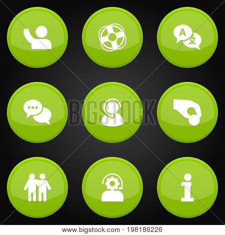 Collection Of Ball, Undertake, Talk And Other Elements.  Set Of 9 Backing Icons Set.