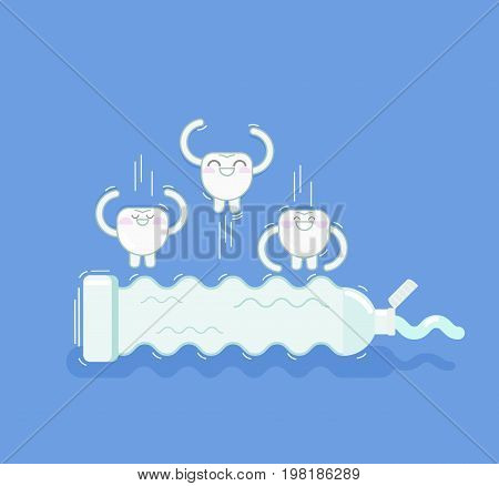 teeth clean themselves. oral hygiene. children's illustration of half a mouth hygiene. teeth jump on a tube of toothpaste