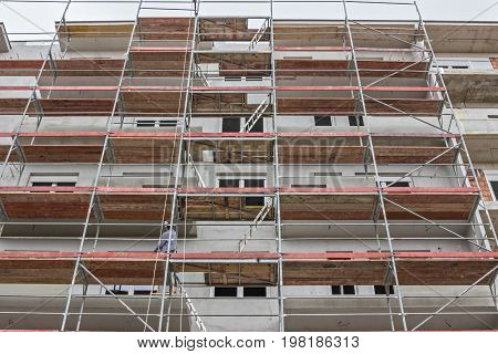 Extensive Scaffolding On A Building