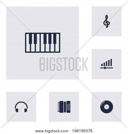 Collection Of Retro Disc, Harmonica, Earphones And Other Elements.  Set Of 6 Song Icons Set.