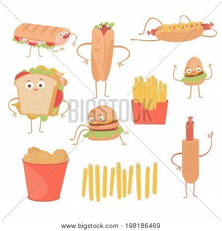 Fast food emoticon characters face flat design icons set. Emoticon funny cute elements vector. Different expression like smile, fun, angry and unhealthy