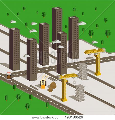 Isometric Buildings Construction. Urban City Map Isolated Elements Isometric Industrial Building Infographic Game Tiles Collection. Urban Shipyard Farm Map Industry Vector Business Set