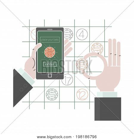 Mobile payments and near field communication. Transaction and paypass and NFC. Vector illustration flat style thine line