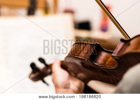 Musician playing the brown violin. Shallow depth of field.