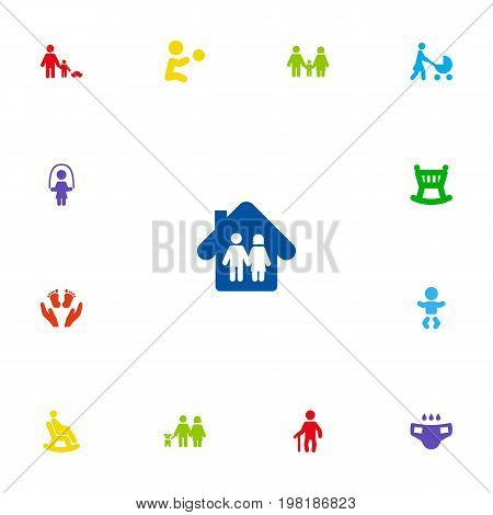 Collection Of Father With Son, Family In Home, Perambulator And Other Elements.  Set Of 13 Family Icons Set.