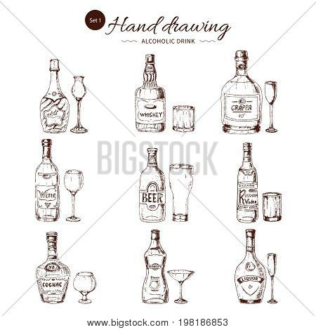Alcoholic drinks hand drawn set including wine vodka and liquor cognac vermouth and whiskey isolated vector illustration