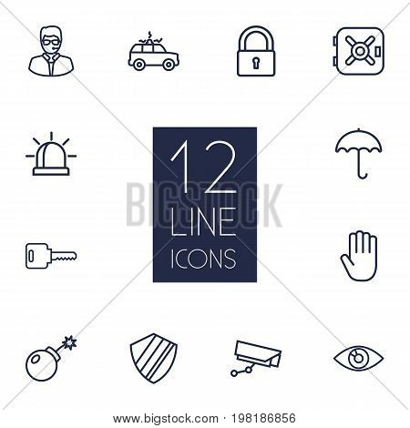 Collection Of Safe, Dynamite, Supervision And Other Elements.  Set Of 12 Safety Outline Icons Set.